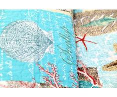 Copriletto svantje 230 x 250 cm Maritim conchiglie, coralli, Stella di mare plaid coperta Quilt