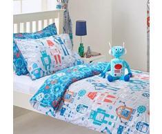 Robot-Copripiumino per letto singolo e federa Set di biancheria da letto per bambini, colore: blu