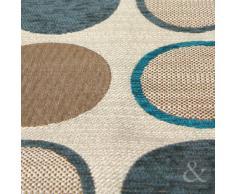 """Just Contempo - Cuscino decorativo imbottito per letto o divano, in ciniglia, con motivo contemporaneo a cerchi, 43 x 43 cm, Poliestere, foglia di tè (blu beige), fodera cuscino 17"""" x 17"""""""
