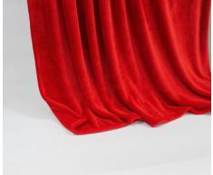 Lifestyle Products - Morbida coperta in microfibra, extra spessa, effetto seta/cashmere al tatto, 150 x 200 cm, colore: rosso