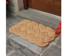 JVL - Zerbino per interni, in fibra di cocco naturale, fatto a mano, 45 x 75 cm, stile a corda annodata, colore: marrone