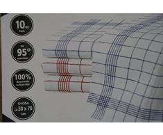 Gluecksshop exclusiv für Müskaan Asciugapiatti, 10 pezzi, 100% cotone, 50 x 70 cm, lavabile a 95 gradi, resistente al cloro, colori: rosso e blu
