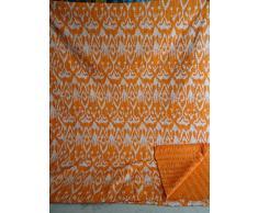 Tribal Asian Textiles ikat Stampa King Size Kantha Quilt, Kantha Coperta, Copriletto, Re Kantha copriletto, Bohemian Bedding Kantha Dimensioni 228,6 x 274,3 cm 010