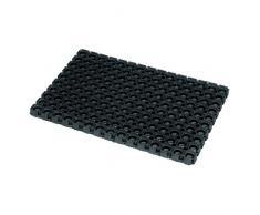 JVL Rondo anello in gomma resistente all' aperto contratto zerbino, 50 x 100 cm, nero