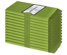 Clinica di Cotone 12 Pezzi Tovaglioli Stoffa 50 x 50 cm Cotone 100%, Morbidi e confortevoli, Qualità alberghiera duratura, Tovaglioli Cotone con le frange, Lima Verde