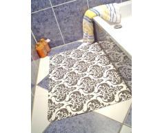 Papillon - Tappeto super assorbente da bagno, 50 x 75 cm, fantasia barocca, colore: nero/bianco
