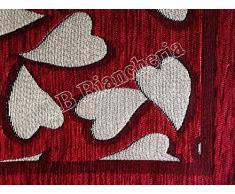 """By Suardi - Tappeto arredo Passatoia Cucina """"Cuori Sweet"""" Shabby Chic Moderno in ciniglia cm 55x140 Made in Italy, ROSSO"""