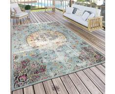Paco Home Tappeto per Interni e per Esterni Oriente Pastello Turchese Rosa Giallo, Dimensione:120x170 cm