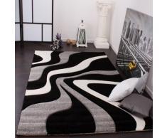 Paco Home Tappeto di Design Motivo Ondulato Orlo Lavorato A Mano nei Colori Nero Grigio Bianco, Dimensione:60x110 cm