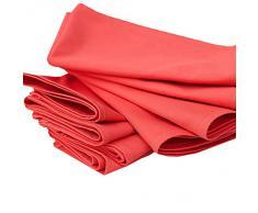 Linenme - Tovaglioli in cotone Plain, 45 x 45 cm, 12 pz, colore rosso corallo