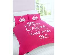 """Just Contempo - Copripiumino con motivo """"Keep Calm and It's Time for Bed"""", set di biancheria da letto, Misto cotone, rosa, trapunta matrimoniale (da bambini)"""