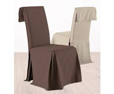 Fodera coprisedia, rivestimento per sedia - Altezza regolabile - 100% cotone - Color CIOCCOLATO