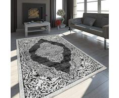 Paco Home Oriente Tappeto Moderno Effetto 3D mélange Brillante Ornamenti in Nero Bianco, Dimensione:200x290 cm