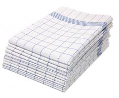 ZOLLNER 10 Strofinacci A Quadretti Bianchi E Blu, 50x70 cm, 100% Cotone