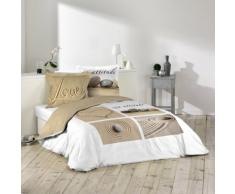 Douceur dInterieur, Set di biancheria da letto, 3 pz, 240 x 220 cm, in cotone a 42 fili, motivo: Amore, Multicolore (mehrfarbig)