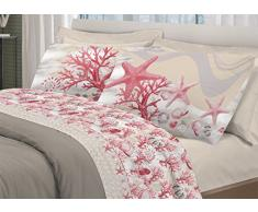 a51b6244c1 BIANCHERIAWEB Completo Lenzuola in 100% Cotone Disegno Marina Matrimoniale  Rosso