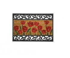 William Armes - Zerbino in fibra di cocco con bordi ad effetto ferro battuto, Poppy Design motivo: papaveri, dimensioni: 75 x 45 cm
