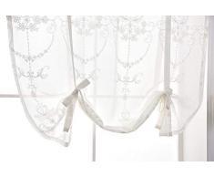 Qucover Tendine per Finestra Tende a Pacchetto Trasparenti Tende da Vetro Voile Decorazione per Cucina Balcone Bistrot Camera 60 x 120 cm Bianco