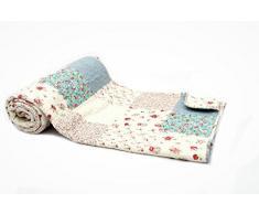 1001 Wohntraum 17jn02b Quilt Lotte fiori, 200 x 230 cm, Plaid Copriletto, coperta Patchwork Vintage Shabby, Multicolore