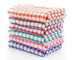 WBTY Set di 6 strofinacci multifunzione in cotone, strofinacci da cucina per la pulizia, asciugatura della cucina e strofinacci assorbenti senza pelucchi, per bar ristorante
