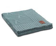 Knit Factory 1101109–Coperta Lavorata a Maglia Plaid Aran, 130x 160cm, Stone Verde