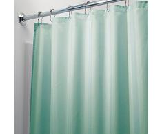 InterDesign Tenda doccia in tessuto, Tende per doccia in poliestere con orlo rinforzato, Tenda bagno lavabile con dimensioni di 183,0 cm x 183,0 cm, verde acqua
