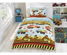 Sconosciuto Kidz, Set Biancheria da Letto Singolo Multicolore, Tema edilizia, con ruspe e Camion