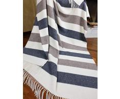 "Coperta in cashmere, 100% lana, 140 x 200 cm, coperta a quadri, molto morbida, plaid ""Faro"" , Lana, Grau-weiß-braun 2 (Streifen), 140 x 200 cm"
