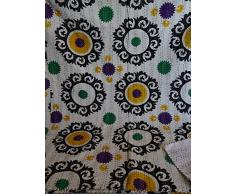 tribal Asian Textiles multicolor Paisley patchwork Print Queen Size kantha Quilt, kantha Blanket, bed cover, king kantha copriletto, Bohemian Bedding kantha Dimensioni 228,6 x 274,3 cm 1111