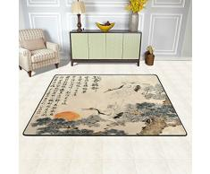 Naanle tradizionale giapponese pittura tappeto antiscivolo per per camera da letto, soggiorno, cucina 50 x 80 cm (1.7 'x 2.6' ft), Japan Crane Pine Tree Sun nursery tappeto pavimento tappetino yoga, Multi, 60 x 90 cm(2' x 3')