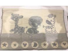 Copertina neonato in pile di cotone, motivo giungla 100 cm x 75 cm
