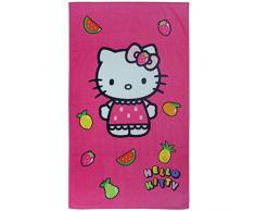 Hello Kitty Telo Mare o da bagno Fruity, Rosa Fucsia, 70 x 120 cm, 100% cotone