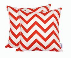 Dongguandong Comoco® - Set di 2 federe per cuscini, fantasia geometrica, tela decorativa per cuscini dei divani, Orange, 40 x 40 cm