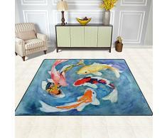 Naanle tradizionale giapponese tappeto antiscivolo per per camera da letto, soggiorno, cucina 50 x 80 cm (1.7 'x 2.6' ft), acquerello Koi nursery tappeto pavimento tappetino yoga, Multi, 150 x 200 cm(5' x 7')