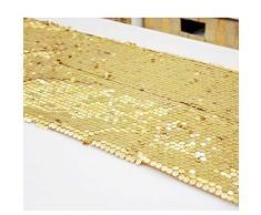 Surenhap Tovaglia Tablecloth Wedding Restaurant Festa in Stoffa Tavolo 30 * 275cm Glitter Glitter per Matrimoni Decorazioni di Compleanno - Oro