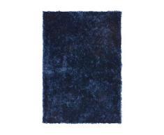 Lalee - Tappeto morbido a pelo lungo, 100% poliestere, Blu, 80 x 150 cm