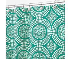 InterDesign Medallion Tenda doccia in tessuto, Tende per doccia in poliestere lavabile con motivo a cerchi di dimensioni 183,0 cm x 183,0 cm, verde acqua