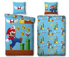 Character World, set di biancheria da letto double-face, 100% cotone, motivo: Super Mario, 135 x 200 cm, 80 x 80 cm, 100% cotone/flanella, Blu, 135 x 200 cm