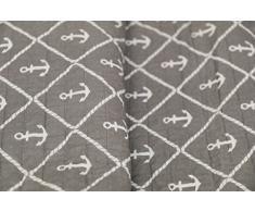 1001 Wohntraum 17jn13 Quilt Ella ancoraggio, 220 x 240 cm, Coperta plaid, Vintage Shabby Coperta, Grigio Maritim