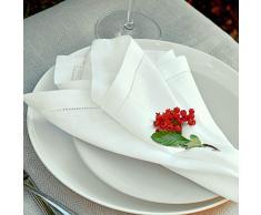 Linen & Cotton Set di 4 Tovaglioli in Stoffa con Orlo A Giorno Florence, 100% Lino - 43cm x 43cm (Bianco)