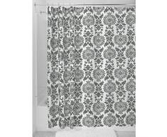 InterDesign Damask Tenda da doccia, Tenda per vasca da bagno con occhielli in metallo, Tenda in poliestere 180,0 cm x 200,0 cm con design moderno, Poliestere grigio