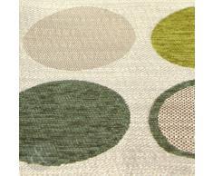 Just Contempo - Cuscino decorativo imbottito per letto o divano, in ciniglia, con motivo contemporaneo a cerchi, 43 x 43 cm, Poliestere, verde, fodera cuscino 17 x 17