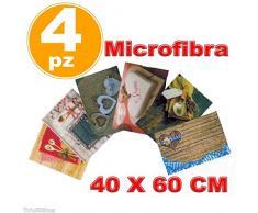 TrAdE shop Traesio 4 STROFINACCI MICROFIBRA ASCIUGAPIATTI ASCIUGA PIATTI CANOVACCIO 40X60 CM