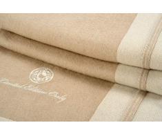 Artigiani del Cashmere Plaid Cashmere Plaid 100% Eco Cashmere con Bordo in Tessuto Maglia di 10 cm Applicato su Un Lato del Plaid. Colori Beige e Bianco Naturali (No Tintura). 140 x 190 cm
