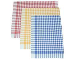 Set di asciugapiatti a quadri è composto di 3 pezzi, la misura 50 x 70 cm, colore: blu, rosso, giallo