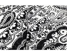 Copriletto Audrey Paisley barocco Acciaio Nero/Bianco Vintage Plaid Coperta Quilt, Cotone, schwarz/weiß, 180 x 220 cm