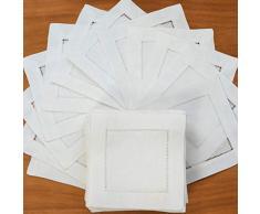 Qingb 12Pz Tovaglioli di Lino con Impunture Tovagliolo da Cocktail Tovaglioli di Stoffa da Pranzo in Stoffa Naturale Tovaglioli di Stoffa con Impunture, Bianco 20x20 cm