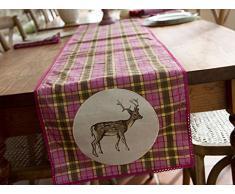 Creative Tops Cotton Katie Alice Highland Fling - Runner da tavola, motivo scozzese con cervo, con finiture in merletto