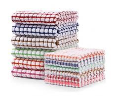 YEAJION Set Asciugapiatti e Strofinacci da Cucina, Set di 12 Asciugapiatti nel Cotone Sfuso, 69 x 38 cm e 30 x 30 cm Ogni Set di 6, Asciugapiatti per Lavare I Piatti Strofinacci