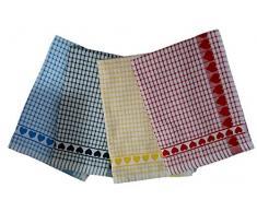 12 asciugamani strofinacci in spugna cm 50x70 asciughino love 3x colore